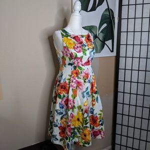 Eliza J Floral Dress Fit and Flare A Line V Back